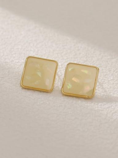 Rice white Brass Shell Enamel Square Vintage Stud Earring