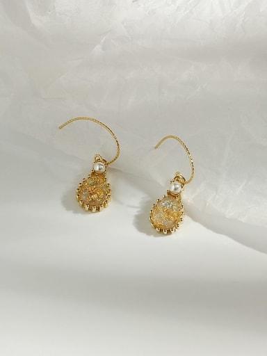 14K  Gold Topaz Copper Opal Water Drop Dainty Hook Earring