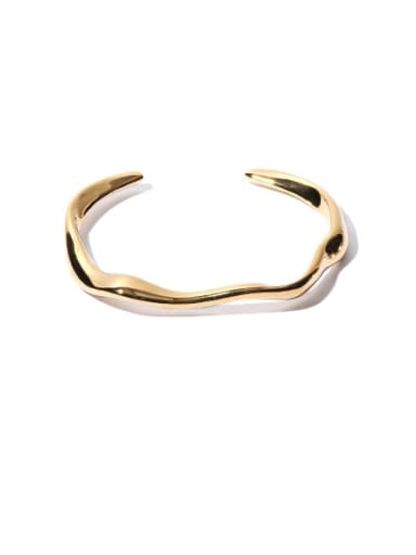 Brass Smooth   Line  Geometric Minimalist Cuff Bangle