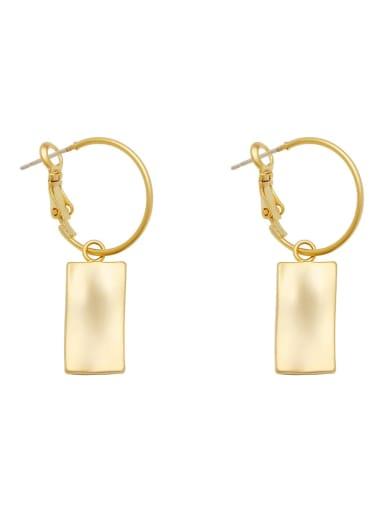 Brass Cats Eye Geometric Minimalist Huggie Earring
