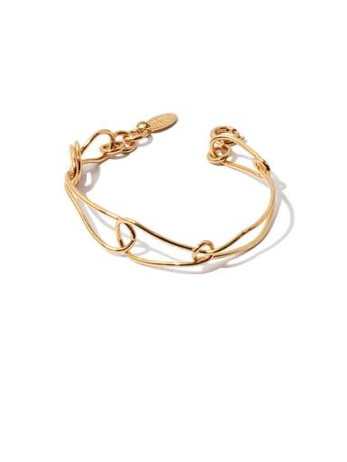 golden Brass Hollow Line Geometric  Vintage Cuff Bangle