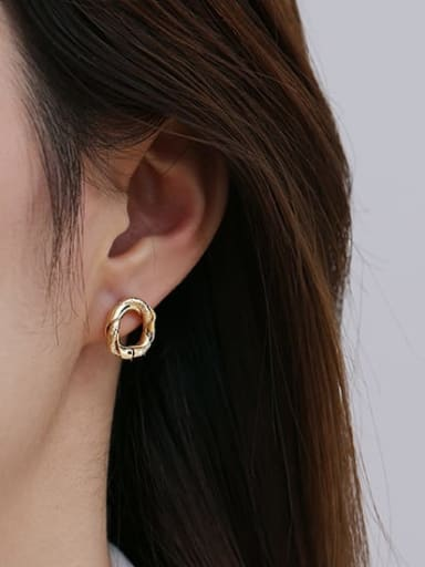 Small Brass Hollow Round Vintage Drop Earring