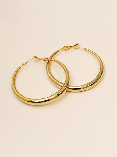 14K god Brass Smooth Geometric Minimalist Hoop Earring