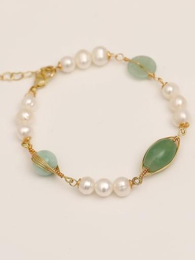 Brass Imitation Pearl Geometric Vintage Beaded Bracelet