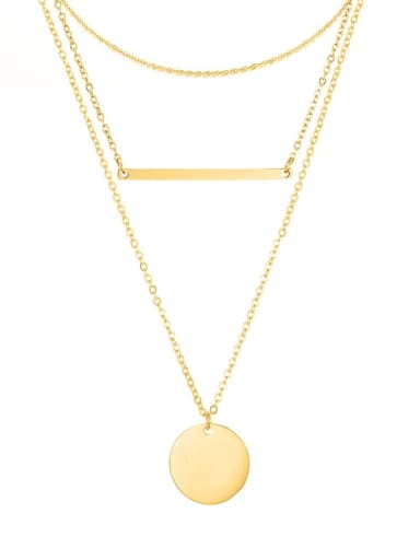 golden Stainless steel Minimalist Geometric  Pendant Multi Strand Necklace
