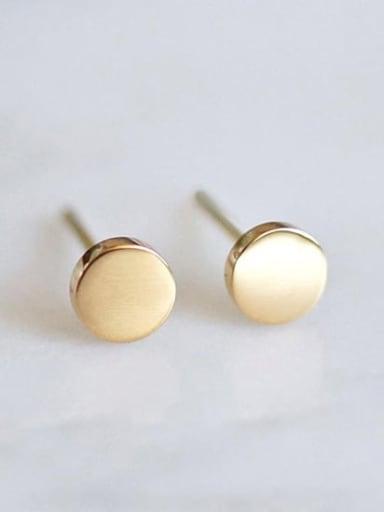 golden Stainless steel Round Minimalist Stud Earring