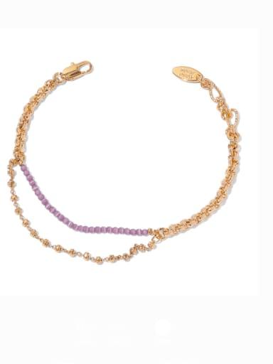 Brass Cubic Zirconia Geometric Minimalist Strand Bracelet
