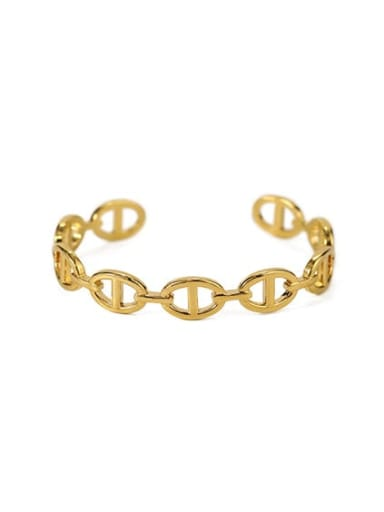 Pig nose chain Brass Hollow geometry Vintage Cuff Bangle