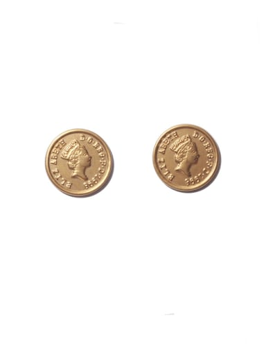 golden Titanium Steel Round Vintage Stud Earring