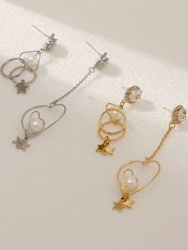 Brass Imitation Pearl Heart Minimalist Hook Earring