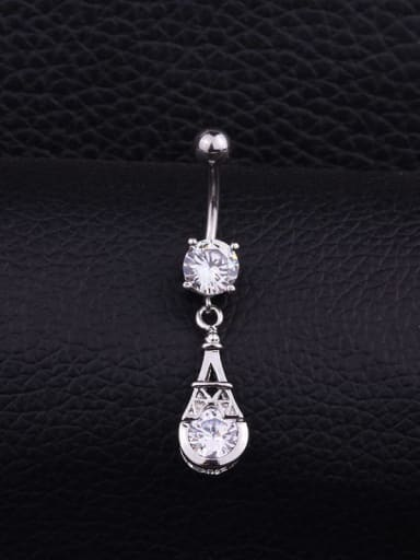 Section F (Single) Stainless steel Cubic Zirconia Flower Hip Hop Belly studs & Belly Bars