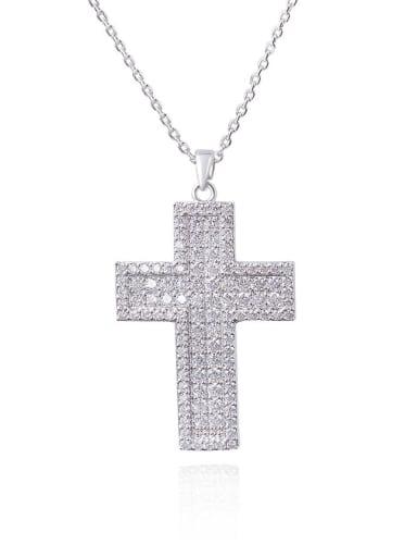 Brass Cubic Zirconia Cross Minimalist Regligious Necklace