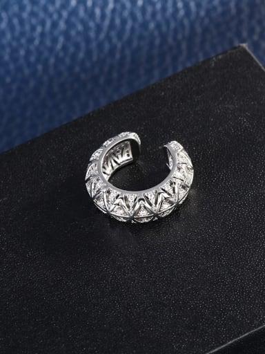 Brass Cubic Zirconia Geometric Vintage Clip Earring