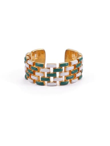 Green and white drop oil Brass Enamel Geometric Hip Hop Band Ring