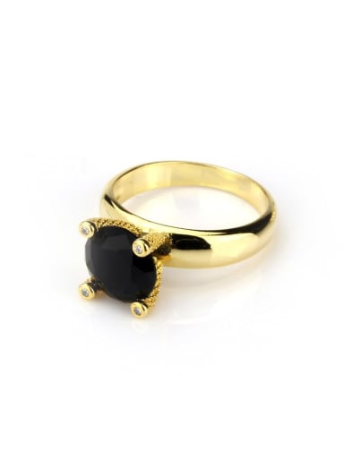 Gold Plated Black Brass Opal Geometric Vintage Band Ring