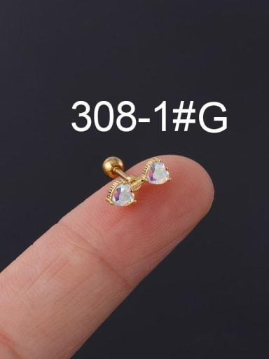 1# gold Brass Cubic Zirconia Multi Color Ball Stud Earring(Single)