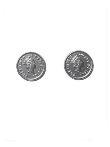 Titanium Steel Round Vintage Stud Earring