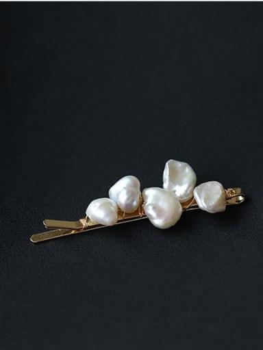 Brass Vintage Geometric  Freshwater Pearl Hair Pin