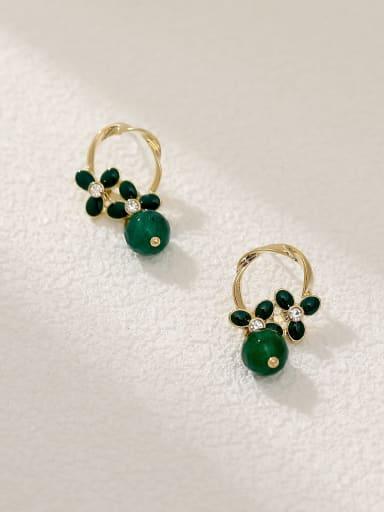14K golden + green Brass Resin Geometric Vintage Drop Earring