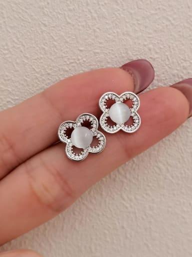 White K Brass Cats Eye Clover Minimalist Stud Earring