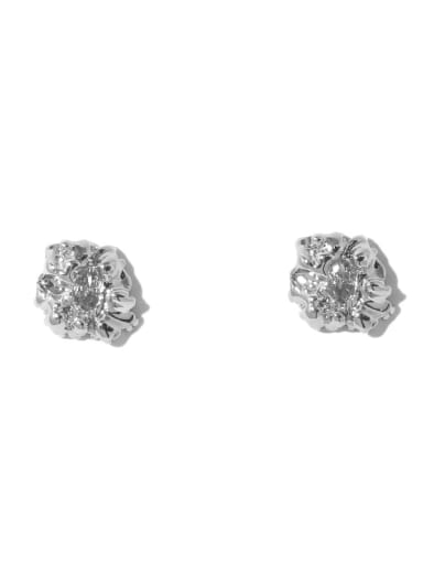Platinum Earrings Brass Cubic Zirconia Geometric Vintage Stud Earring