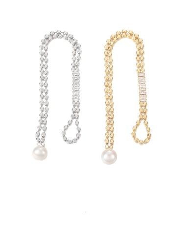 Platinum Brass Cubic Zirconia Geometric Vintage Link Bracelet