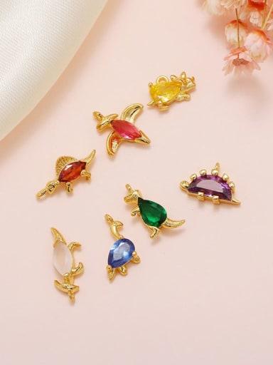 Brass Cubic Zirconia Multi Color  Dragon Cute DIY Charms