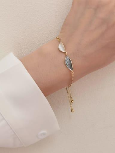 Brass Shell Leaf Minimalist Adjustable Bracelet