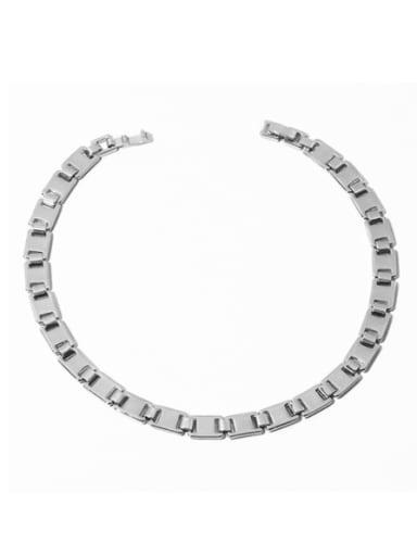 Brass Smooth Geometric Chain Minimalist Choker Necklace