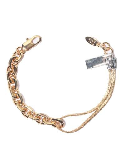 Golden chain Brass Geometric Hip Hop Link Bracelet
