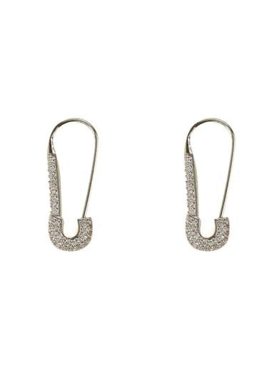 steel Brass Cubic Zirconia Geometric  Pin Vintage Stud Earring