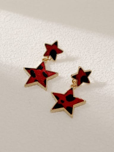14k Gold Red Brass Star Vintage Drop Earring