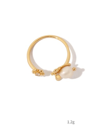 Brass Imitation Pearl Flower Vintage Band Ring