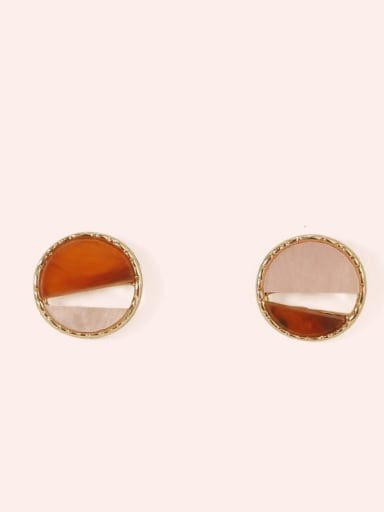Section 1 Alloy Enamel  Cute Round Contrasting Color  Stud Earring