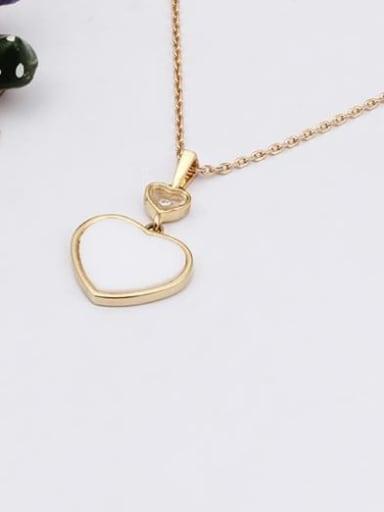 white Brass Shell Heart Minimalist Necklace