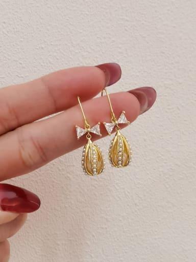 Brass Imitation Pearl Water Drop Minimalist Hook Earring