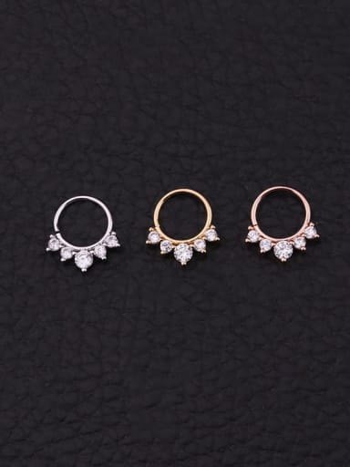 Brass  with Cubic Zirconia White Minimalist Hoop Earring