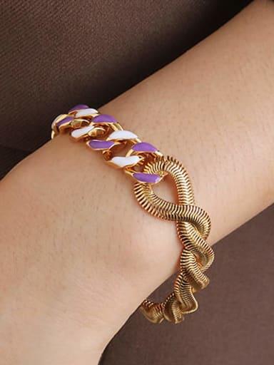 Purple white drop oil Bracelet Brass Enamel Geometric Minimalist Link Bracelet