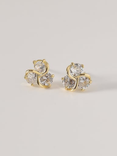 14k Gold Brass Cubic Zirconia Flower Cute Stud Earring