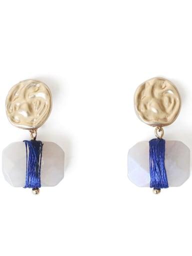 blue Alloy Zircon Geometric Ethnic Drop Earring