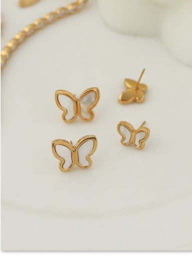 Titanium Steel Shell Butterfly Minimalist Stud Earring