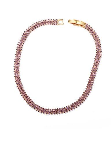 Gold Purple zircon collar Brass Cubic Zirconia Geometric Minimalist Choker Necklace