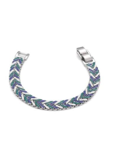Blue green Brass Enamel Geometric Hip Hop Woven Bracelet
