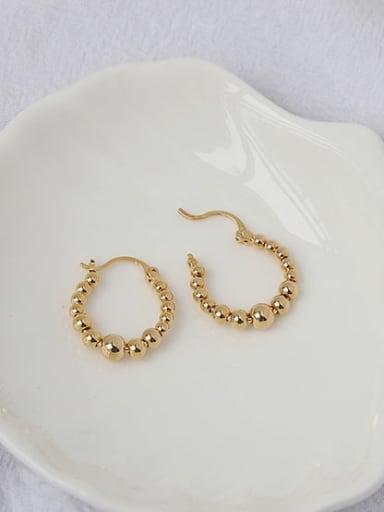 Brass Bead Geometric Vintage Huggie Earring