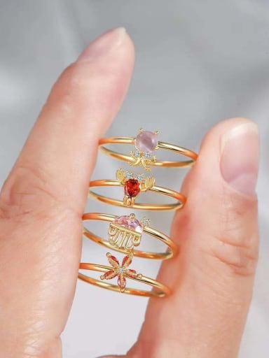 Brass Cubic Zirconia Multi Color Irregular Cute Band Ring