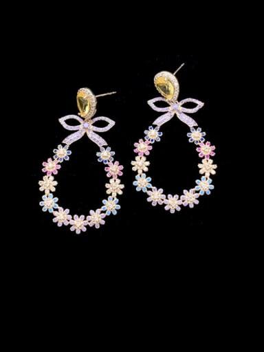 Brass Cubic Zirconia Flower Luxury Chandelier Earring