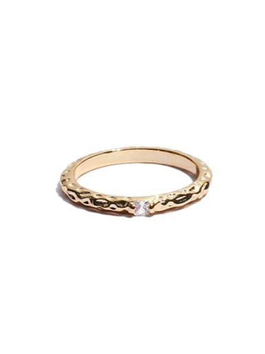 golden Brass Cubic Zirconia  Minimalist Geometric chain irregular hollow  Midi Ring
