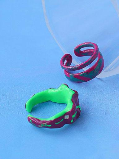 Zinc Alloy Enamel Irregular Minimalist Stackable Ring
