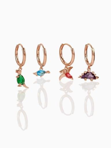 Brass Cubic Zirconia Multi Color Irregular Minimalist Single Earring