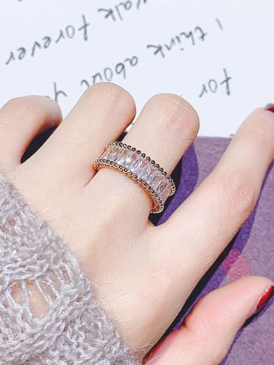 rose gold Alloy Cubic Zirconia White Geometric Trend Band Ring/Free Size Ring